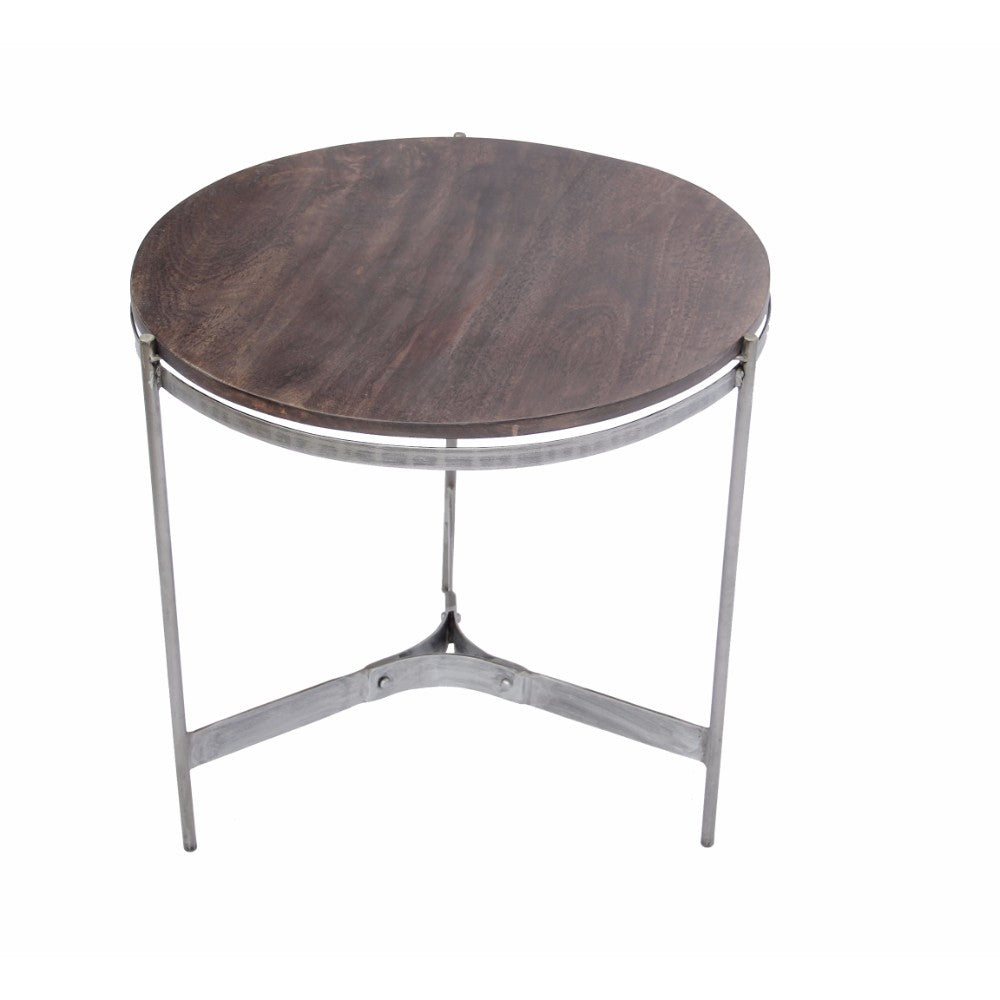The Urban Port Wooden Round Top Table With 3-Leg Metal Stand, Natural Wood Brown