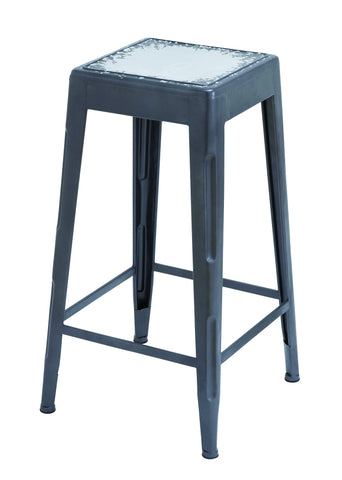 White Bar Stool With Smooth Matte Black Finish