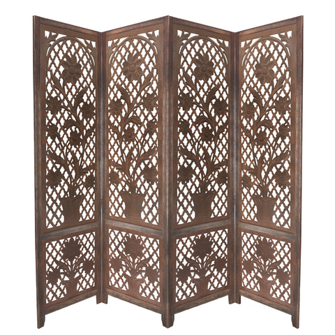 4 Panel Wooden Screen with Cutout Trellis Pattern and Flower Pot Carvings, Brown