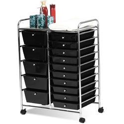 15-Drawer Utility Rolling Organizer Cart Multi-Use Storage