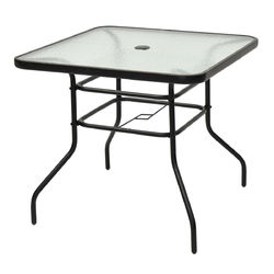 """32"""" Patio Tempered Glass Steel Frame Square Table"""