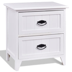 2 Drawers Storage Wood End Side Nightstand