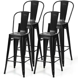 """Set of 4 Black 30"""" Height High Back Metal Industrial Bar Stools"""