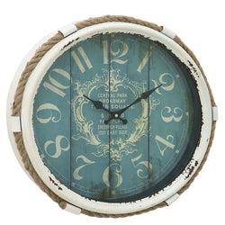 17-inch Nautical Blue Vintage Style Wall Clock