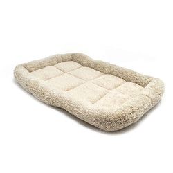 Extra-Small Dog or Cat Bed Faux Fur Plush Beige Padded Mat