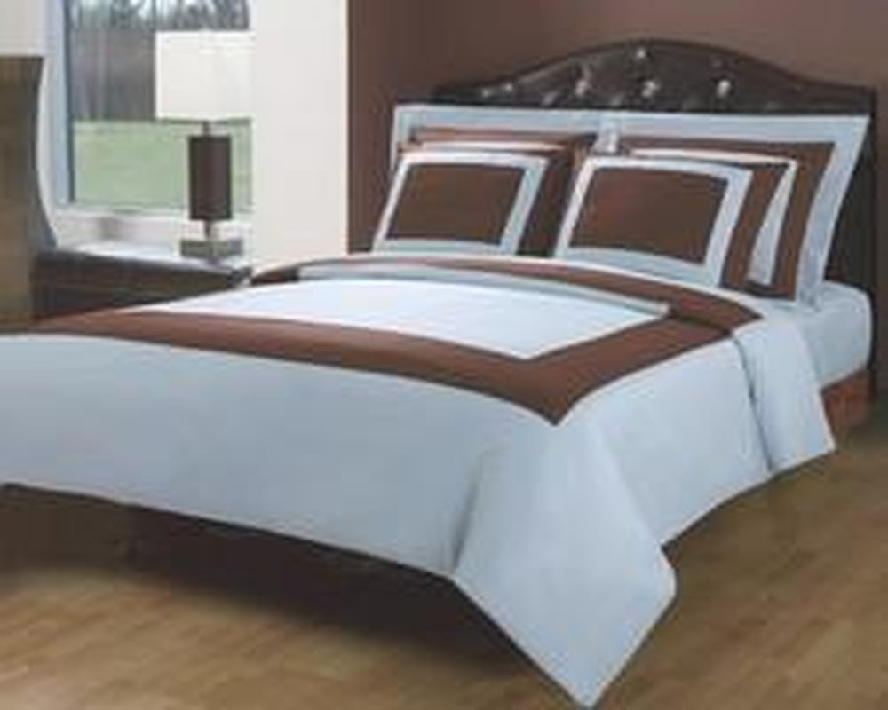Egyptian Cotton 5-Piece Duvet Set - Full/Queen Light Blue and Chocolate