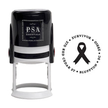 Awareness Ribbon Personalized Self Inking Round Return Address Stamp