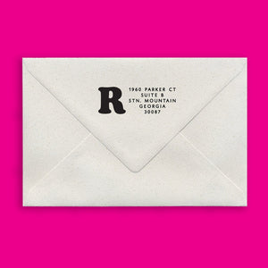Robyn Rectangle Return Address Stamp on Envelope