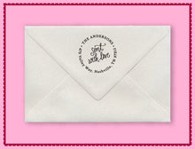 Natalie Chang Sent with Love Personalized Self-inking Round Return Address Stamp on Envelope