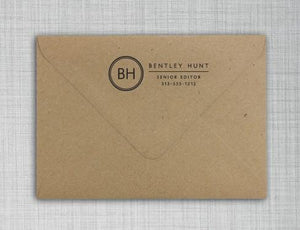 Bentley Rectangle Personalized Self Inking Return Address Stamp on Envelope