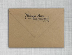 Carolyn Rectangle Personalized Self Inking Return Address Stamp on Envelope