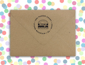 Cheesburger Personalized Self-inking Round Return Address Stamp on Envelope