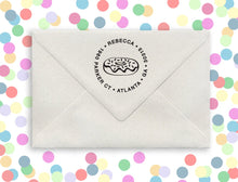 Doughnut Personalized Self-inking Round Return Address Stamp on Envelope