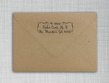 Fancy Address Rectangle Personalized Self Inking Return Address Stamp on Envelope