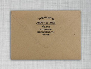 Flint Personalized Self-inking Round Return Address Stamp on Envelope