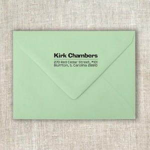 Kirk Rectangle Personalized Self Inking Return Address Stamp on Envelope