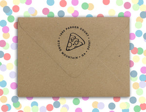 Pizza Personalized Self-inking Round Return Address Stamp on Envelope