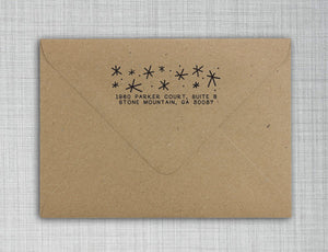 Starry Night Rectangle Personalized Self Inking Return Address Stamp on Envelope