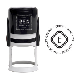 Edith Personalized Self Inking Round Return Address Stamp