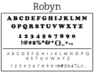 Robyn Rectangle Return Address Stamp Font
