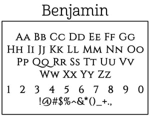 Benjamin Rectangle Personalized Self Inking Return Address Stamp font