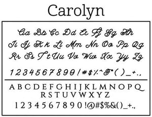Carolyn Rectangle Personalized Self Inking Return Address Stamp font