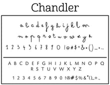 Chandler Rectangle Personalized Self Inking Return Address Stamp font