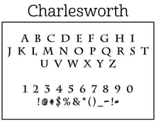 Charlesworth Rectangle Personalized Self Inking Return Address Stamp font