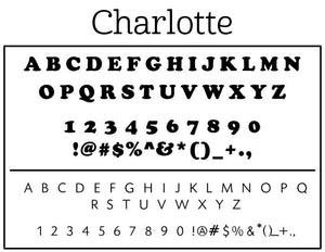 Charlotte Rectangle Personalized Self Inking Return Address Stamp font