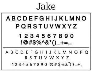 Jake Rectangle Personalized Self Inking Return Address Stamp font