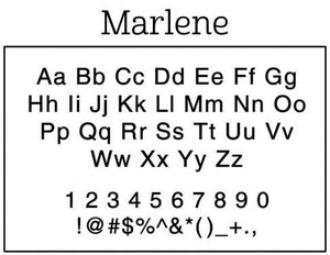 Marlene Rectangle Personalized Self Inking Return Address Stamp font