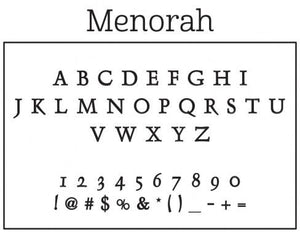 Menorah Personalized Self-inking Round Return Address Design Font