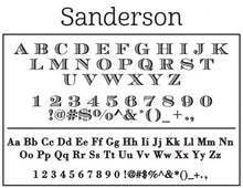 Sanderson Rectangle Personalized Self Inking Return Address Stamp font