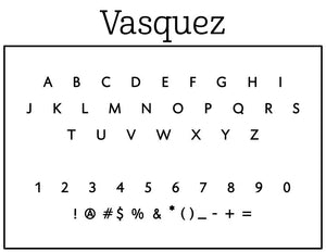 Vasquez Round Personalized Self Inking Return Address Stamp font