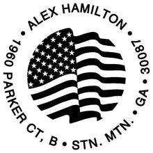 Flag Personalized Self-inking Round Return Address Stamp