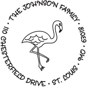 Kelly Hughes Flamingo Personalized Self-inking Round Return Address Stamp