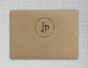 Jennifer Personalized Self-inking Round Return Address Stamp on Envelope