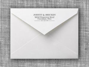 Johnny Rectangle Personalized Self Inking Return Address Stamp on Envelope