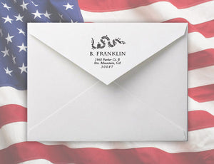 Join Personalized Self-inking Round Return Address Stamp on Envelope