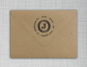 Julie Personalized Self-inking Round Return Address Stamp on Envelope