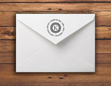 Kelly Hughes Chevron Personalized Self-inking Round Return Address Stamp on Envelope