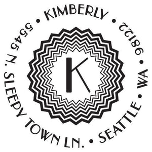 Kimberly Personalized Self-inking Round Return Address Stamp on Envelope