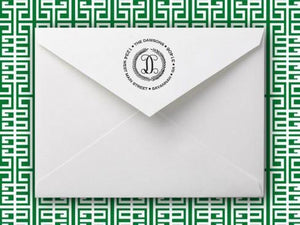Emily McCarthy Laurel Wreath Personalized Self-inking Round Return Address Stamp on Envelope