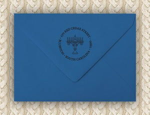 Menorah Personalized Self-inking Round Return Address Design on Envelope