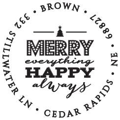 Merry Personalized Self-inking Round Return Address Design
