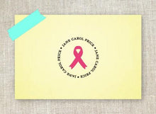 Awareness Ribbon Personalized Self Inking Round Return Address Stamp Pink and Grapefruit Ink