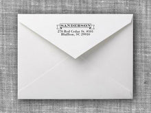 Sanderson Rectangle Personalized Self Inking Return Address Stamp on Envelope