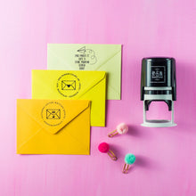 Snail Mail Personalized Self-inking Round Return Address Stamp on Envelope