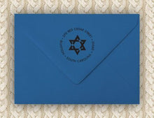 Star of David Personalized Self-inking Round Return Address Stamp on Envelope