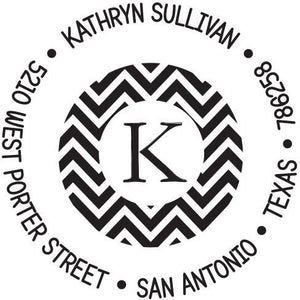 Kelly Hughes Chevron Personalized Self-inking Round Return Address Stamp